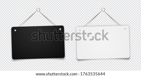 White and black shop door signs hanging isolated on transparent background. Empty or blank sign for store, restaurant or cafe. Vector illustration. EPS 10