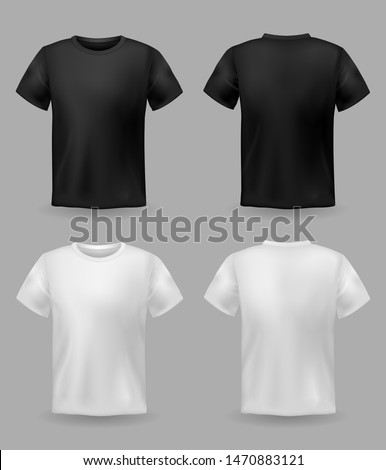 White and black t-shirt mockup. Sport blank shirt template front and back view, men and women clothes for fashion clothing realistic uniform for advertising textile print vector set