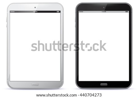 White and Black Tablet Computers Vector Illustration.