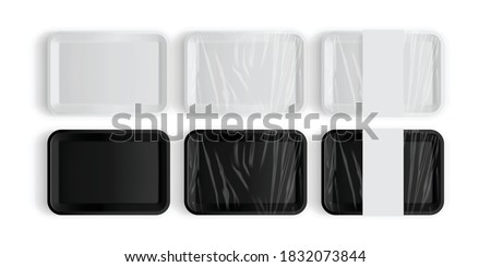 white and black tray packaging for food isolated on white background vector mock up Foto stock ©