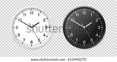 White and black wall office clock icon set. Design template closeup in vector. Mock-up for branding and advertise isolated on transparent background.