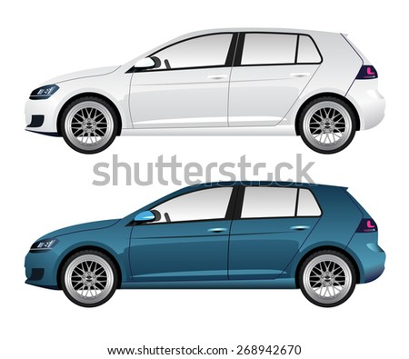 white and blue car