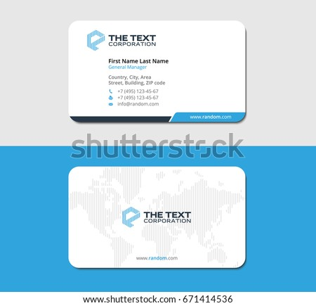 white and blue clean business card template with continents map