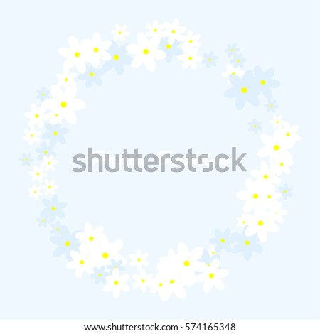 White and blue Flowers. Blue background. Happy Birthday.