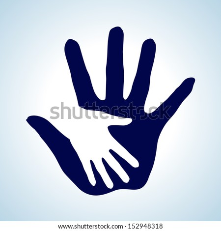 White and blue  illustration of hand in hand. Concept of help, assistance and cooperation.