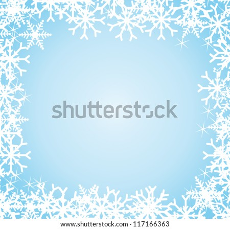 White and blue luxurious greeting festive background with snowflakes border. Vector greeting card.