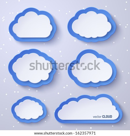 White and blue paper bubbles for speech in the form of clouds on a gray background. Abstract design. Vector illustration for your design.