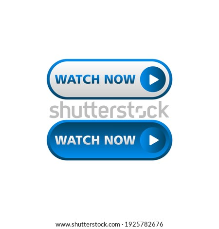 White and blue watch now button in neomorphism style. Easy editable vector isolated illustration.