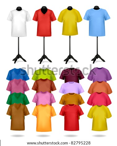 White and color t-shirts on mannequins. Vector illustration.