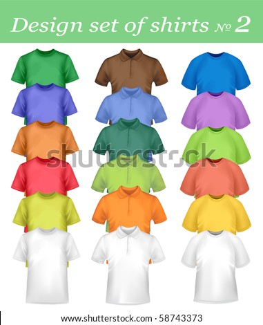 White and colored men and women polo and t-shirts. Photo-realistic vector illustration.