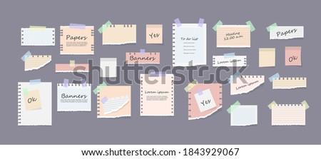 White and colorful striped note, copybook, notebook sheet. Paper notes on stickers, notepads and memo messages torn paper sheets. Office and school stationery, memo stickers. Vector illustration. Stock photo ©