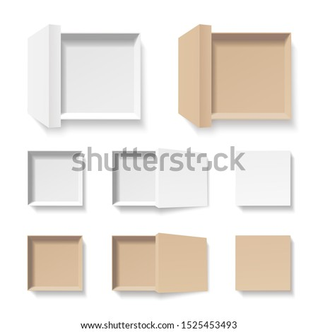 white and craft open boxes set