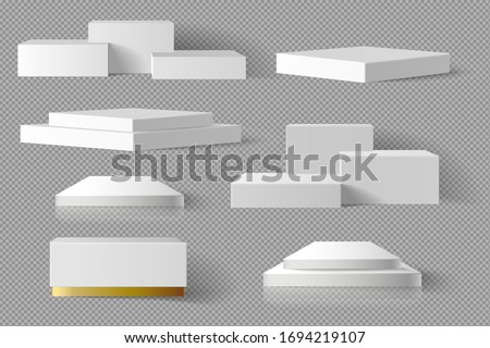 White and gold Blank Box square Block marble template set with shadow background. concept podium stage showcase for product, promotion sale, banner, presentation, cosmetic, offer. 3D Realistic vector