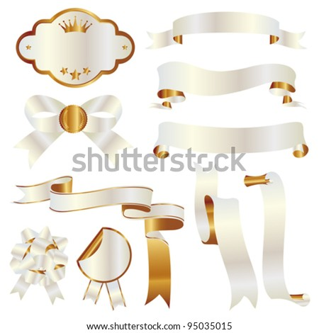 white and gold ribbon set