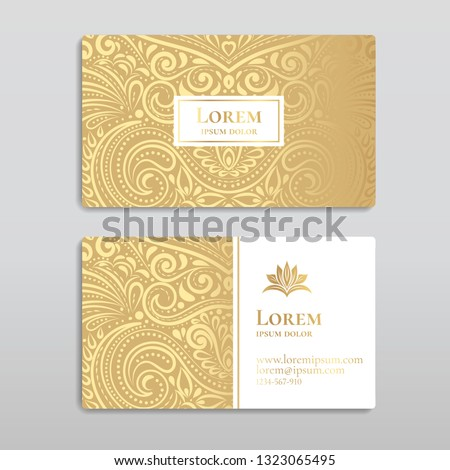 White and gold vintage business card. Luxury vector ornament template. Great for invitation, flyer, menu, brochure, postcard, background, wallpaper, decoration, packaging or any desired idea.