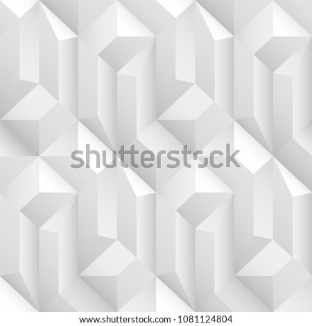 White and gray decorative geometric texture. Vector seamless 3d background.