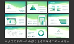 White and green business presentation template with infographic elements and collection of flat style web symbols.