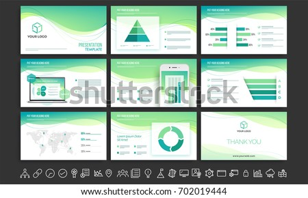 White And Green Business Presentation Template With Infographic Elements  And Collection Of Flat Style Web Symbols