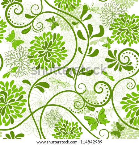 White and green seamless floral pattern with curls and  butterflies (vector)