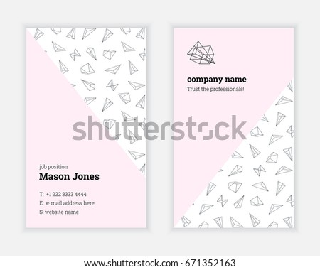 Clean Minimal Business Card Template With Pattern Shape Download - Business card template size