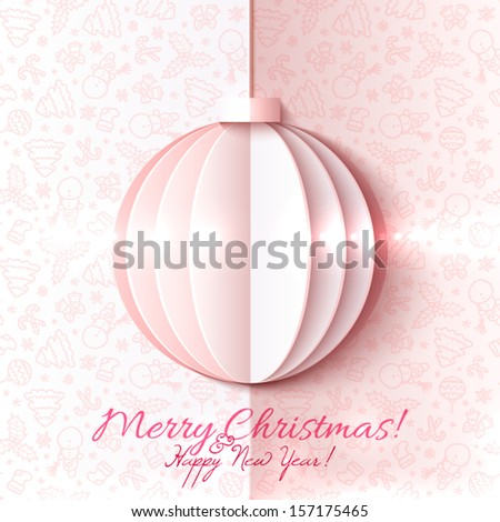 White and pink paper Christmas ball vector greeting card in origami style