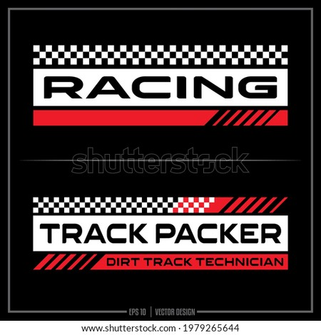 White and Red Race insignia, Race Team, Sports Design, Team logo, Checkered Flag Foto d'archivio ©