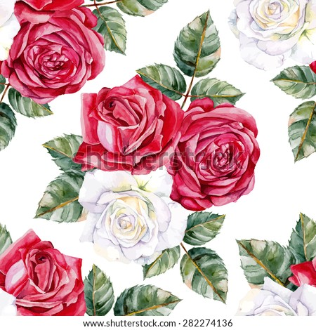 white and red roses seamless