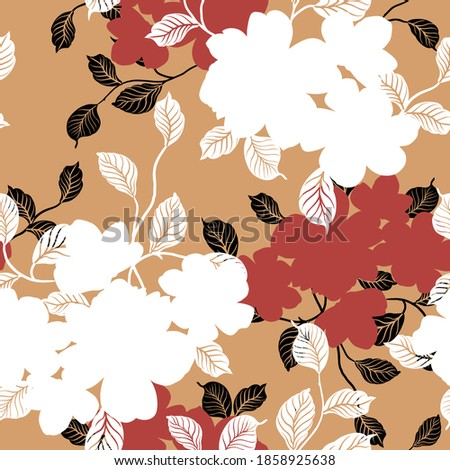 white and red seamless floral vector flowers bunches pattern on mustered background Stock foto ©