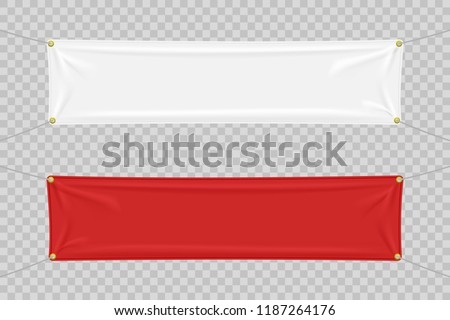White and red textile banners with folds #1187264176