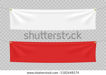 White and red textile banners with folds. Blank hanging fabric template set. Vector illustration #1182648574