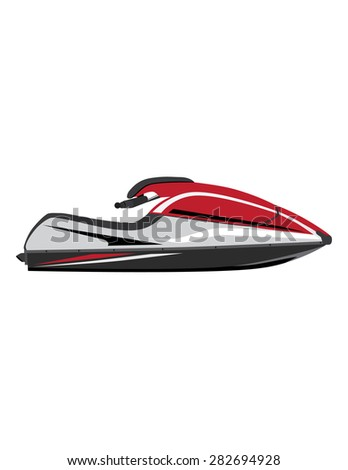 White and red water scooter vector icon isolated, extreme sport, water sport,water transport