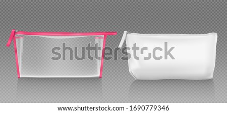 White and transparent cosmetic bag with zipper for makeup and beauty tools. Vector realistic mockup of blank fabric pouch with zip for toiletry, soap and body care products. Small beauticians for