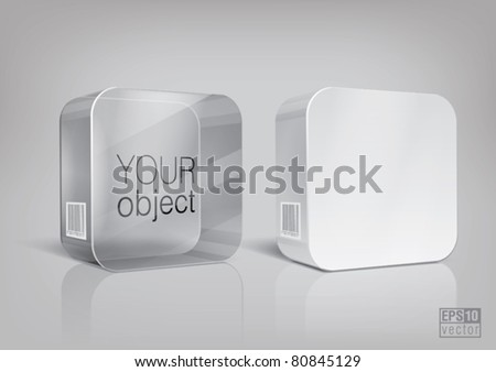 White and transparent rectangle package with rounded corner, for new design. Eps10 vector