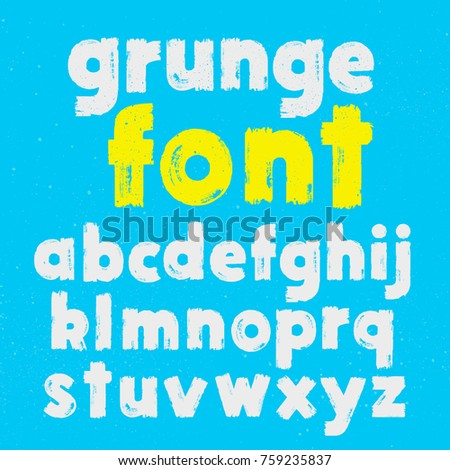 White and yellow grunge lowercase handwritten vector alphabet on blue background. Drawn by semi-dry brush with unpainted areas.