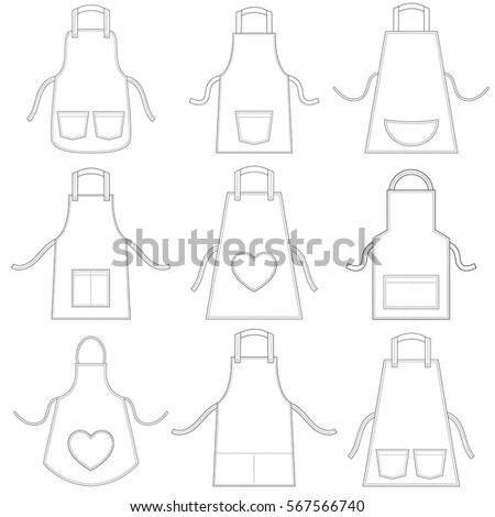white apron set isolated on...
