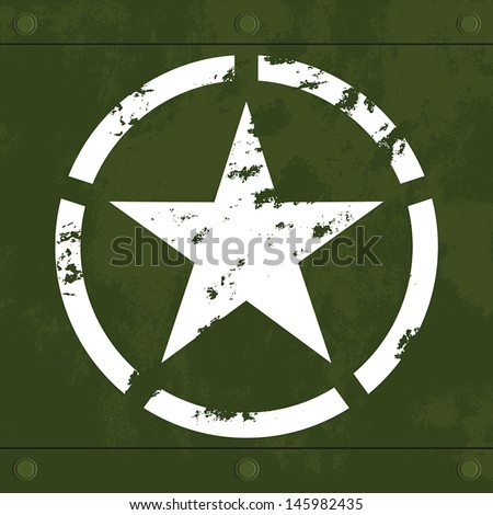 Army Star Symbol White Army Star on Green Metal