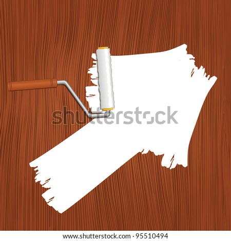 White arrow painted on the wooden background, vector illustration