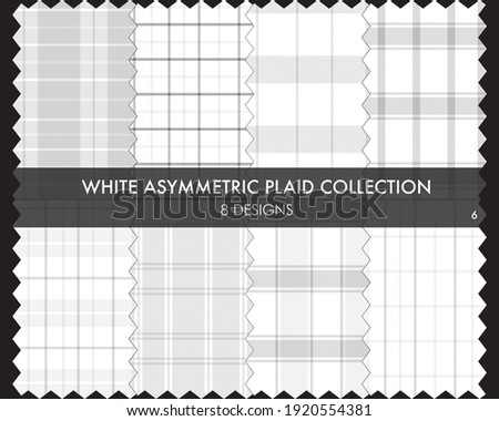White Asymmetric Plaid seamless pattern collection includes 8 designs for fashion textiles and graphics Zdjęcia stock ©
