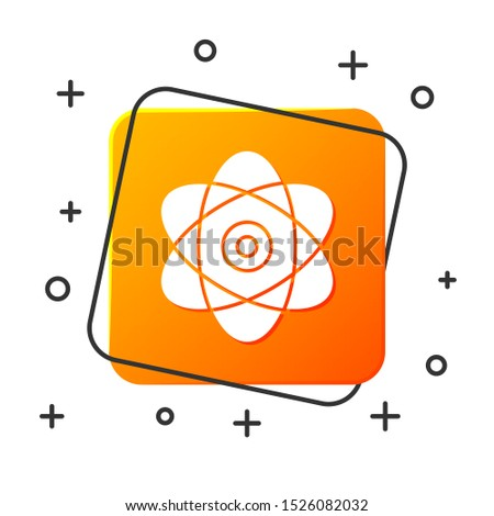 White Atom icon isolated on white background. Symbol of science, education, nuclear physics, scientific research. Electrons and protons sign. Orange square button. Vector Illustration