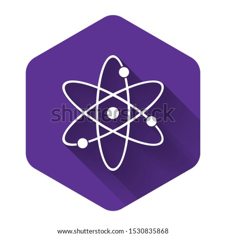White Atom icon isolated with long shadow. Symbol of science, education, nuclear physics, scientific research. Electrons and protonssign. Purple hexagon button. Vector Illustration
