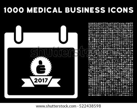 White 2017 Award Ribbon Calendar Day vector icon with 1000 medical business pictograms. Set style is flat symbols, white color, black background.