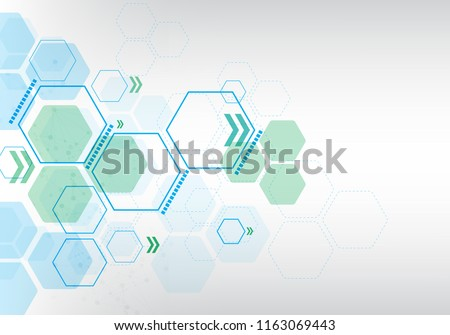 white background geometric blue hexagon pattern