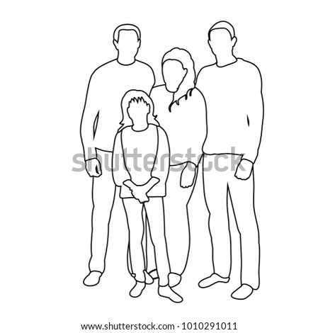 white background sketch of family with children