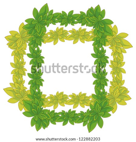 White background with a frame of fresh leaves of plants. Vector