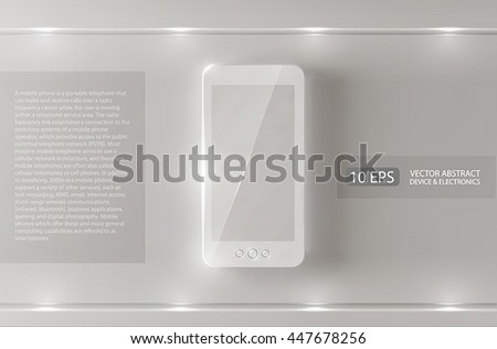 White background with a mobile phone and light effects.