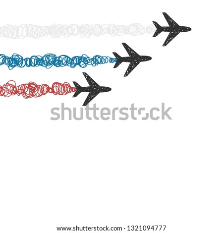 white background with aircraft