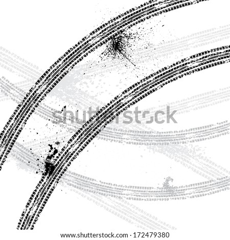 White background with black tire tracks. eps10