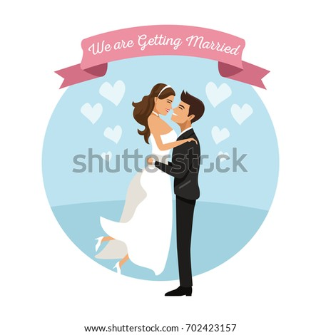 white background with color circular frame poster of newly married couple groom carrying to bride