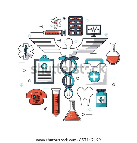 white background with colorful set of medical research icons