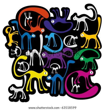 white background with colorfull cats